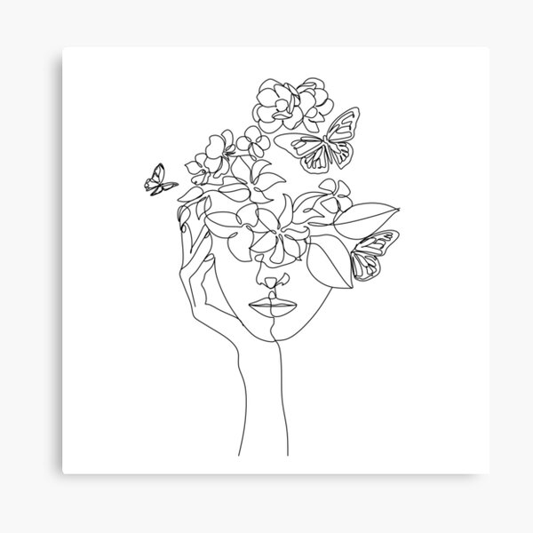 Abstract face with flowers by one line vector drawing. Portrait minimalistic style.  Botanical print. Nature symbol of cosmetics. Modern continuous line art.  Fashion print. Beaty salon logo.  Canvas Print