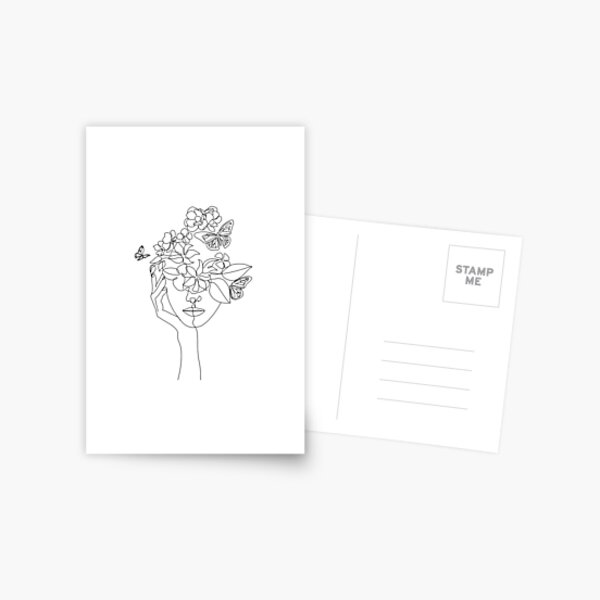 Abstract face with flowers by one line vector drawing. Portrait minimalistic style.  Botanical print. Nature symbol of cosmetics. Modern continuous line art.  Fashion print. Beaty salon logo.  Postcard
