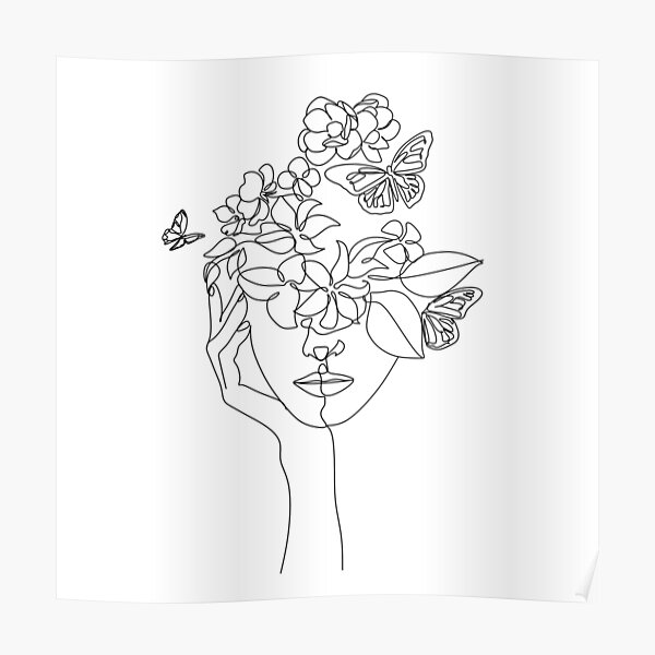 Abstract face with flowers by one line vector drawing. Portrait minimalistic style.  Botanical print. Nature symbol of cosmetics. Modern continuous line art.  Fashion print. Beaty salon logo.  Poster