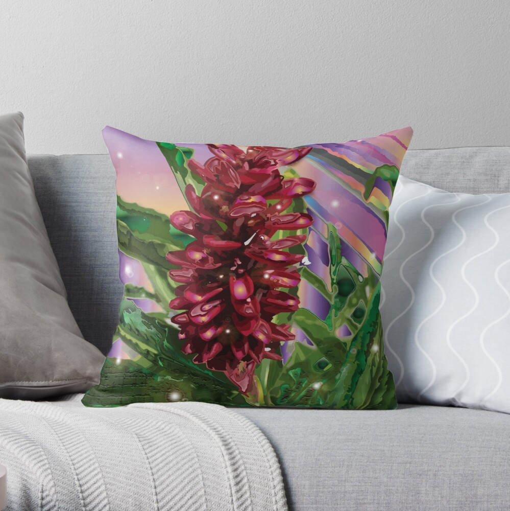 Vintage Red Ginger Throw Pillow