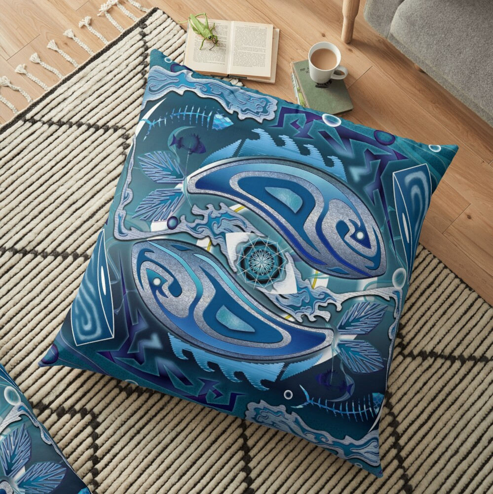 Water Life Cycle Floor Pillow