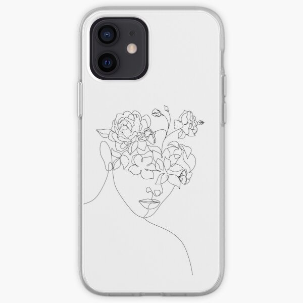 Flower Head Woman Art | Woman With Plants on Head | Flower Woman  | Woman With Flower Head  | Line Drawing Woman with peony  iPhone Soft Case