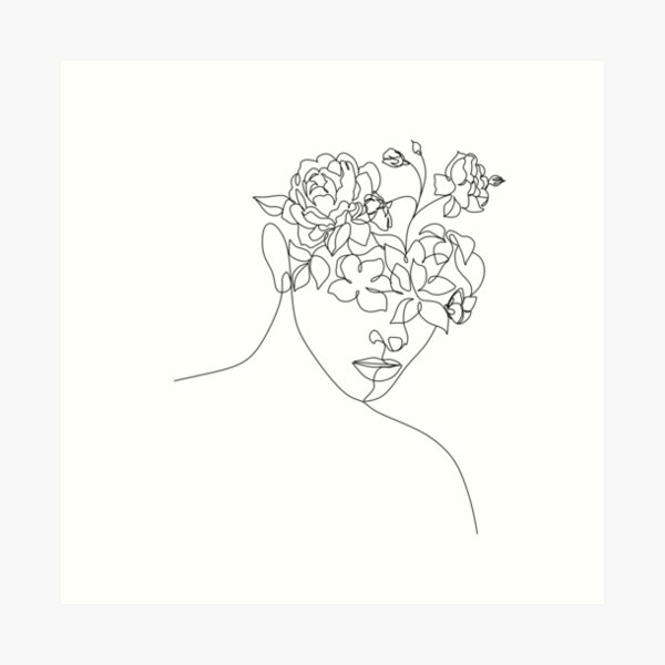 Flower Head Woman Art | Woman With Plants on Head | Flower Woman  | Woman With Flower Head  | Line Drawing Woman with peony  Art Print