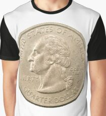 US one Quarter Dollar coin (25 cents) isolated on white background  Graphic T-Shirt