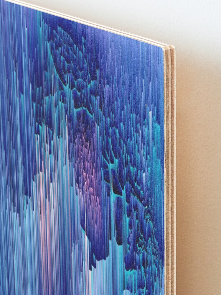 Alternate view of Beglitched Waterfall - Abstract Pixel Art Mounted Print