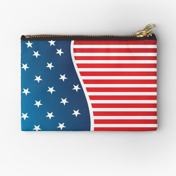Patriotic Red and Blue American Stars and Stripes Zipper Pouch