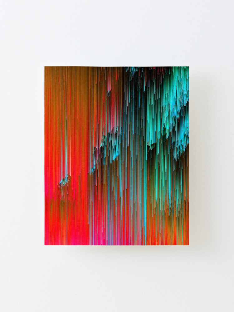 Alternate view of Nice Day for a Walk - Abstract Glitchy Pixel Art Mounted Print