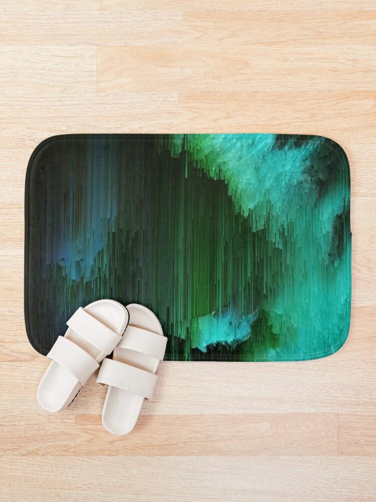 Alternate view of Aurora Borealis - Abstract Glitchy Pixel Art Bath Mat