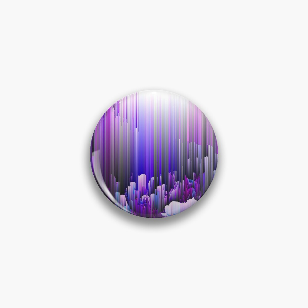 Rain of Lavender - Glitch Abstract Pixel Art Pin