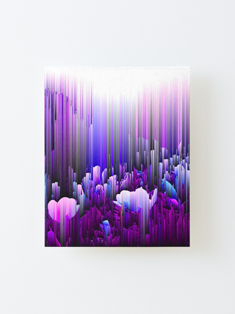 Alternate view of Rain of Lavender - Glitch Abstract Pixel Art Mounted Print