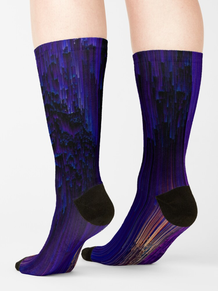 Alternate view of Beglitchment - Abstract Pixel Art Socks