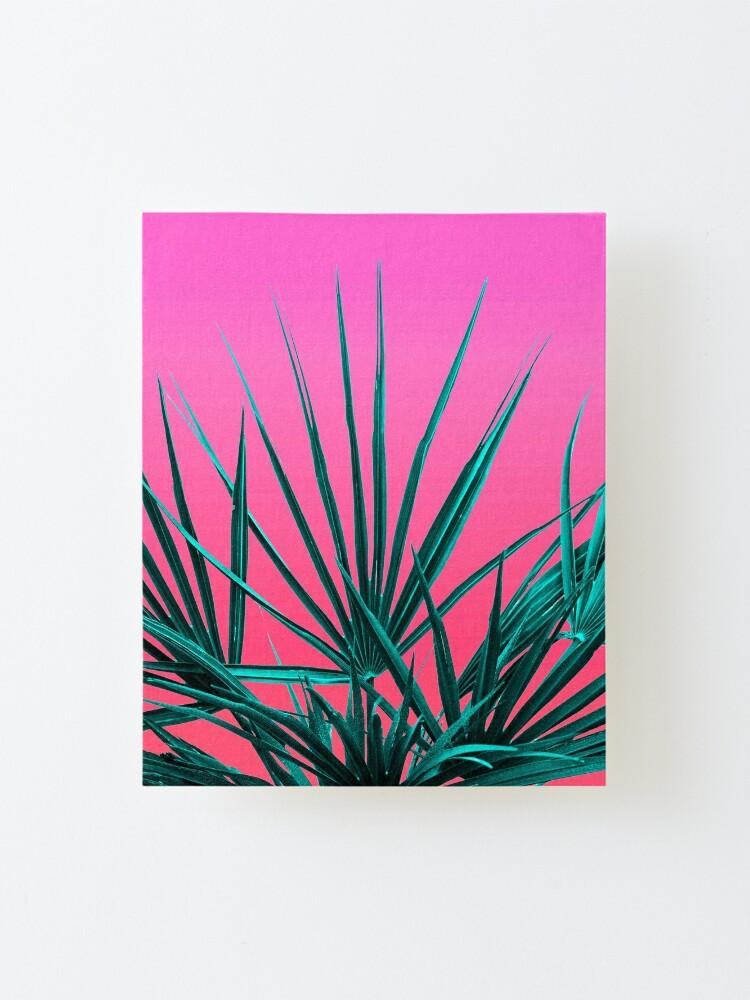 Alternate view of Pink Palm Life - Miami Vaporwave Mounted Print