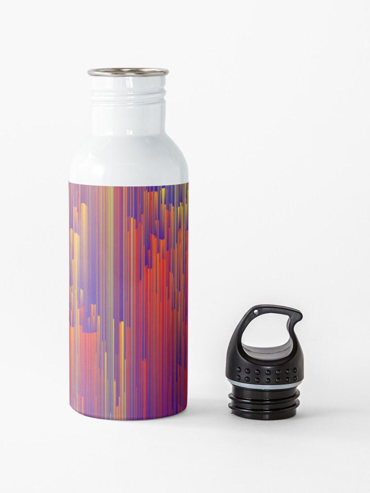 Alternate view of Fiery Rain - Pixel Abstract Art Water Bottle