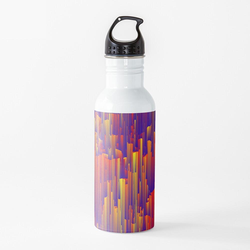 Fiery Rain - Pixel Abstract Art Water Bottle