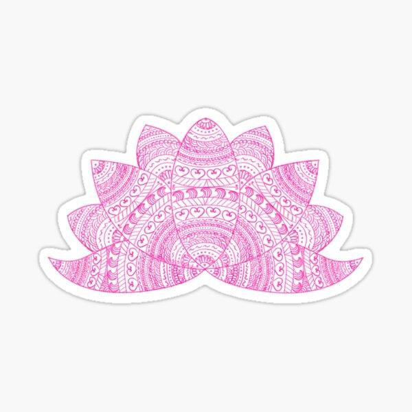 pink lotus mandala petals on blurred sunset with sun light flare Sticker
