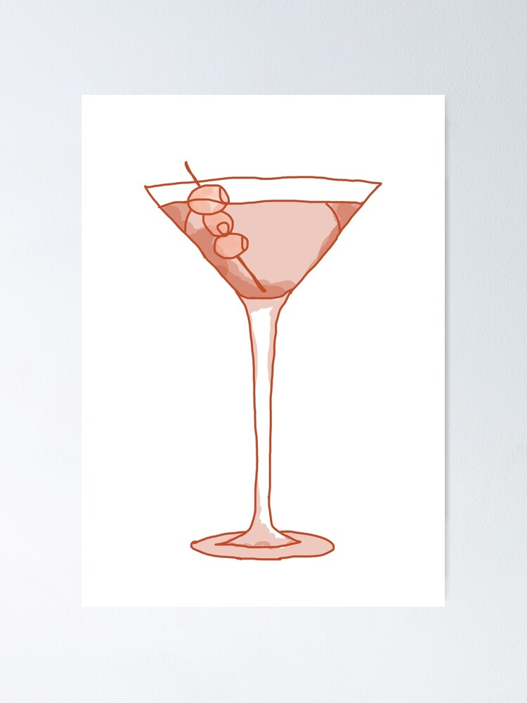 Martini Glass Drawing Poster By Isobelcough Redbubble