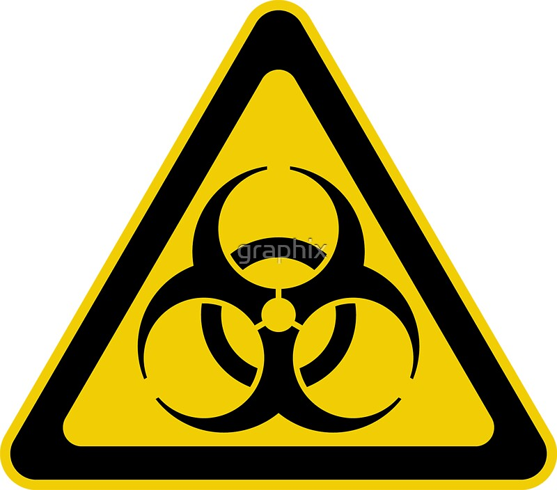 Biohazard symbol warning sign yellow black triangular by graphix
