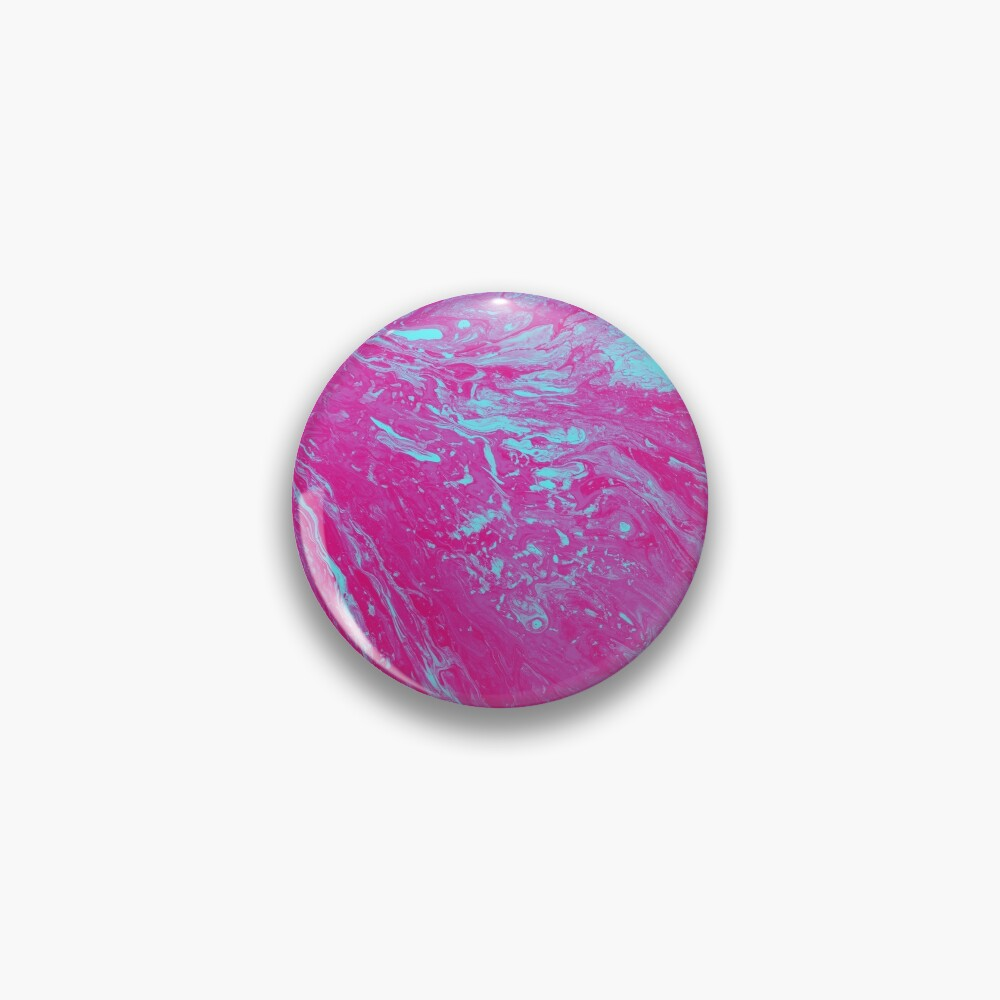 Flood of Pink & Turquoise - An Abstract Piece Pin