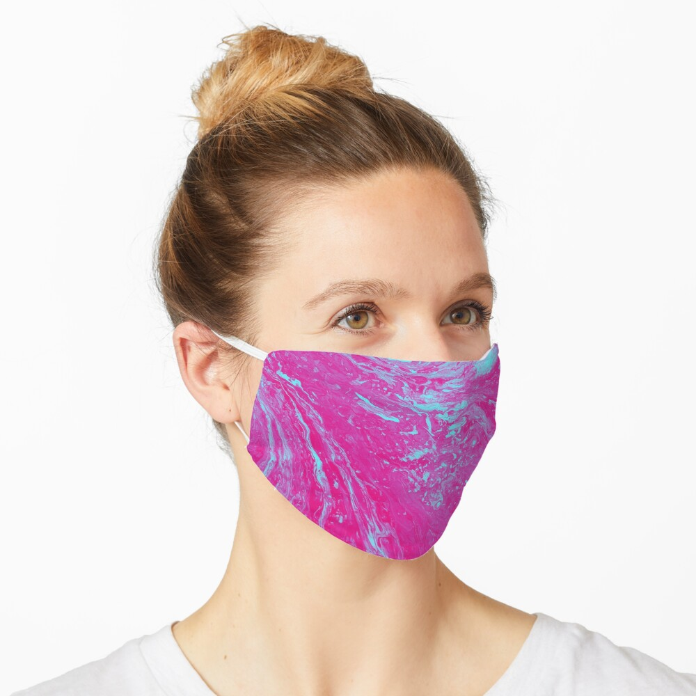 Flood of Pink & Turquoise - An Abstract Piece Mask