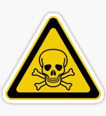 Poison Symbol Warning Sign - Yellow & Black - Triangular Sticker