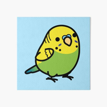 Chubby Green Budgie Male Art Board Print