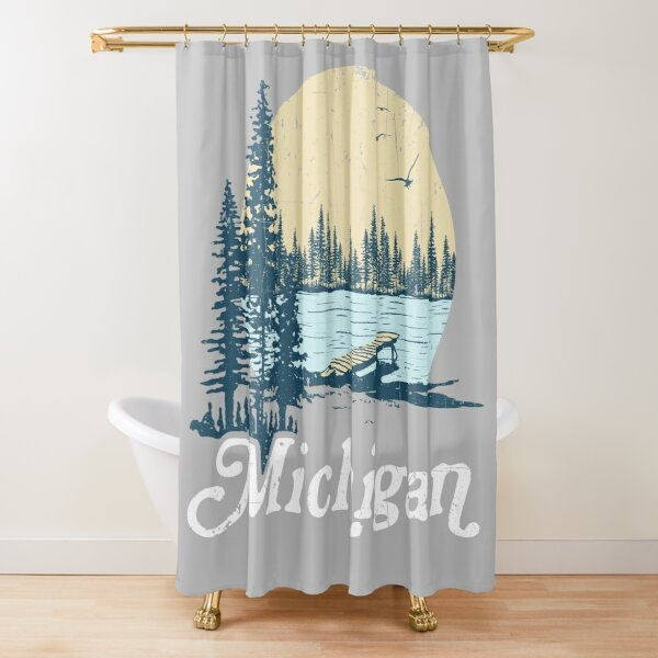 Vintage Michigan Dock on a Lake Shower Curtain