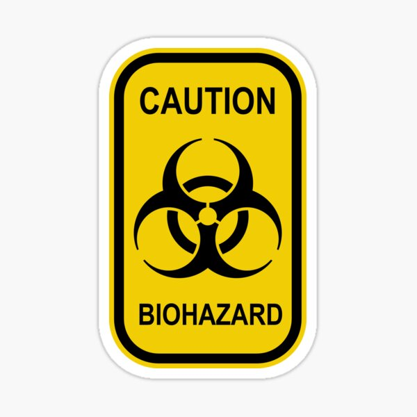 Caution Biohazard Sign - Yellow & Black - Rectangular Sticker