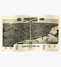 Panoramic Maps Davenport Ia 1888 Poster