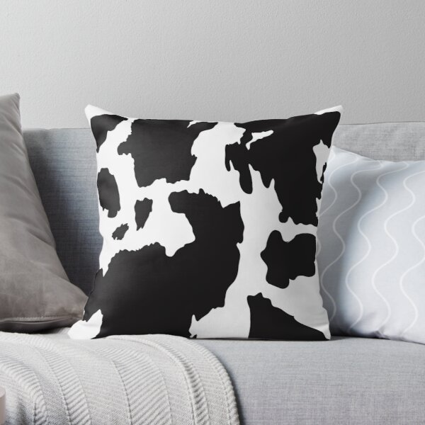 Black cow skin pattern Throw Pillow
