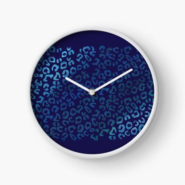 Blue Leopard Clock