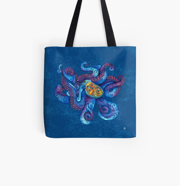 Swirly Octopus All Over Print Tote Bag