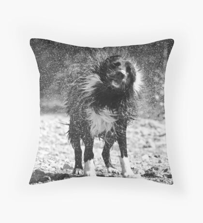 Shaking out the water Throw Pillow
