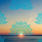 Teal lotus doodle mandala on blurred sunset with sun flare by faithie