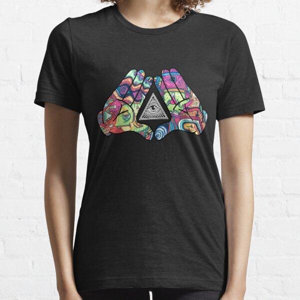 Trippy Illuminati Hands Diamond T-shirt essentiel