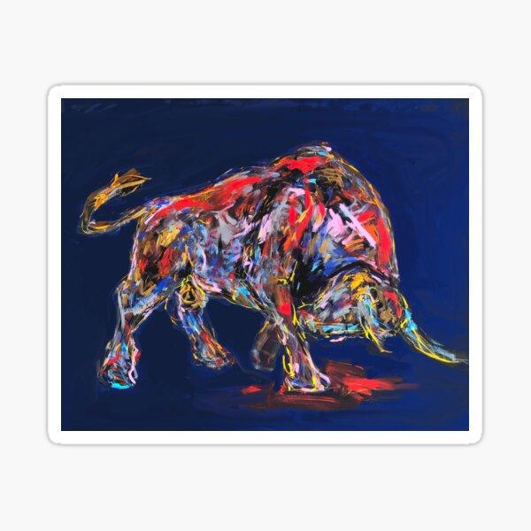 Ein Stier für den Finanzmarkt, blau Sticker