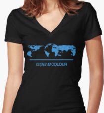 Retro BBC 1 Colour globe graphics Women's Fitted V-Neck T-Shirt