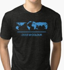 Retro BBC 1 Colour globe graphics Tri-blend T-Shirt