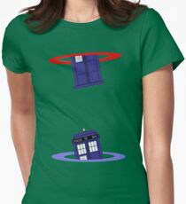 Police Box in a Portal. Womens Fitted T-Shirt