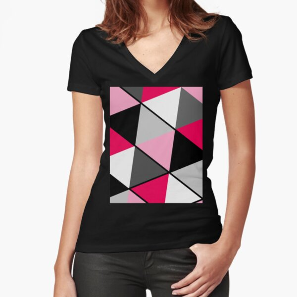 Triangles Black White Pink Grey Fitted V-Neck T-Shirt