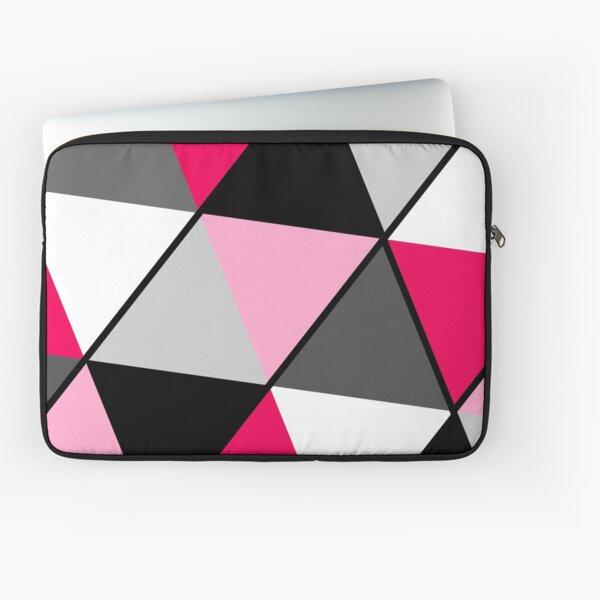Triangles Black White Pink Grey Laptop Sleeve