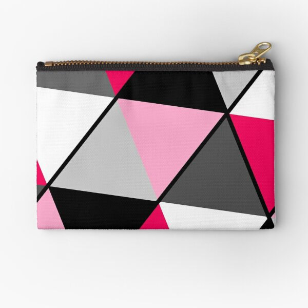 Triangles Black White Pink Grey Zipper Pouch