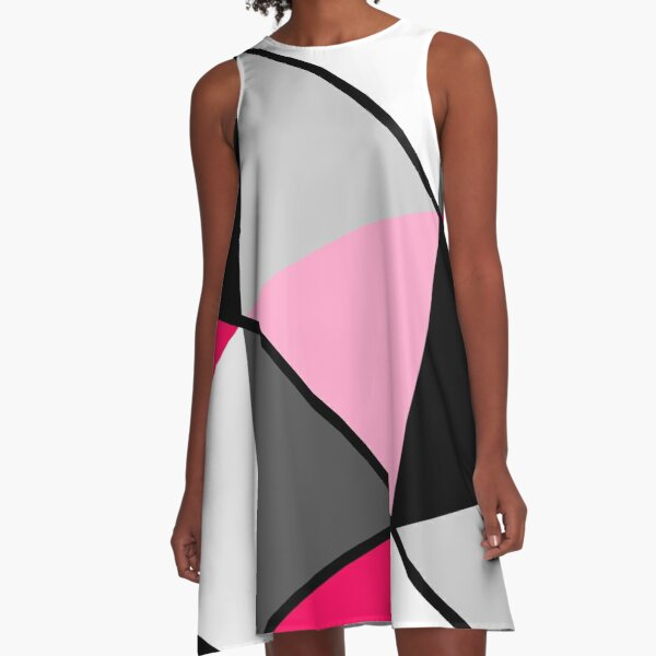 Triangles Black White Pink Grey A-Line Dress