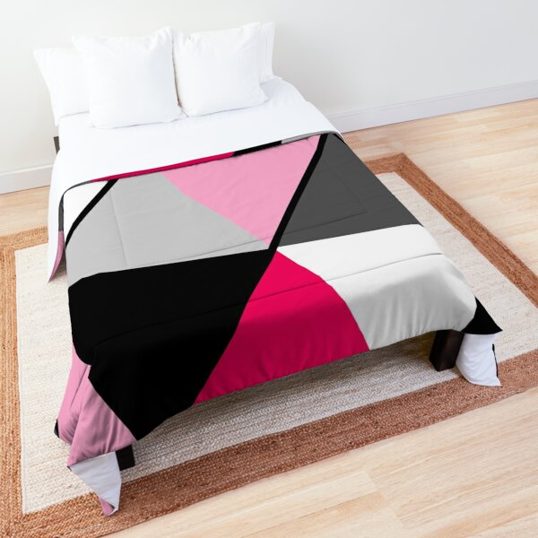 Triangles Black White Pink Grey Comforter
