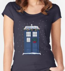 Festive Police Public Call Box. Women's Fitted Scoop T-Shirt