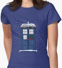Festive Police Public Call Box. Women's Fitted T-Shirt