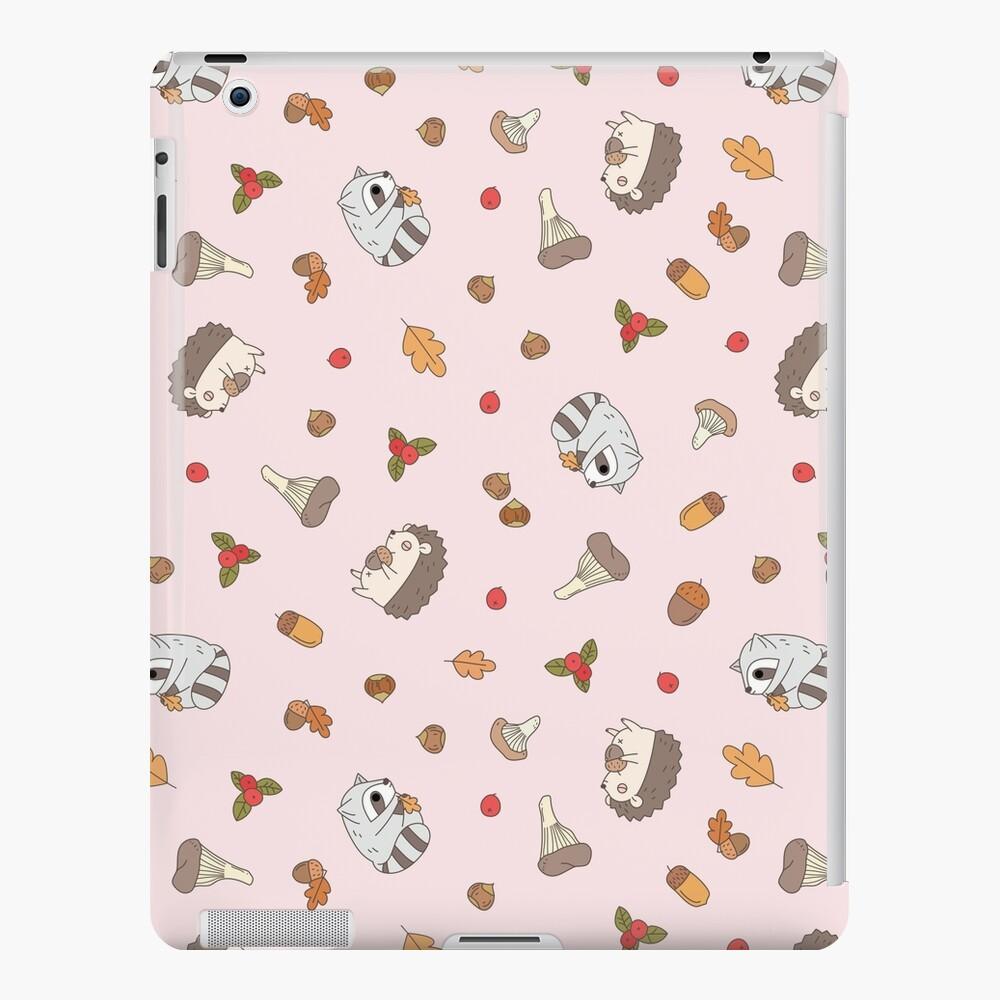 woodland animals pattern, hedgehog and raccoon pattern  iPad Case & Skin