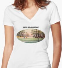 Let's Go Canoeing Women's Fitted V-Neck T-Shirt