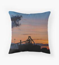 Sun Setting on Redcar Steel Works Throw Pillow