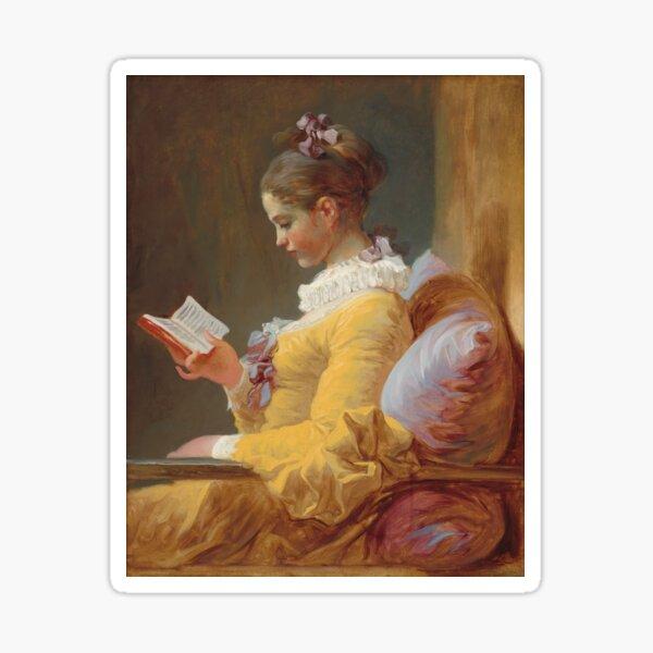 Jean-Honoré Fragonard - A Young Girl Reading - The Reader - Jeune Fille lisant Sticker