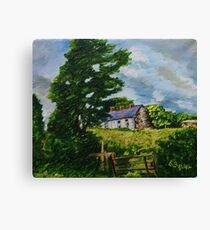 'Summer Silence, Deserted Cottages, Rural Downpatrick, County Down' | Oil and acrylic on Canvas, 12 x 16 inches Canvas Print